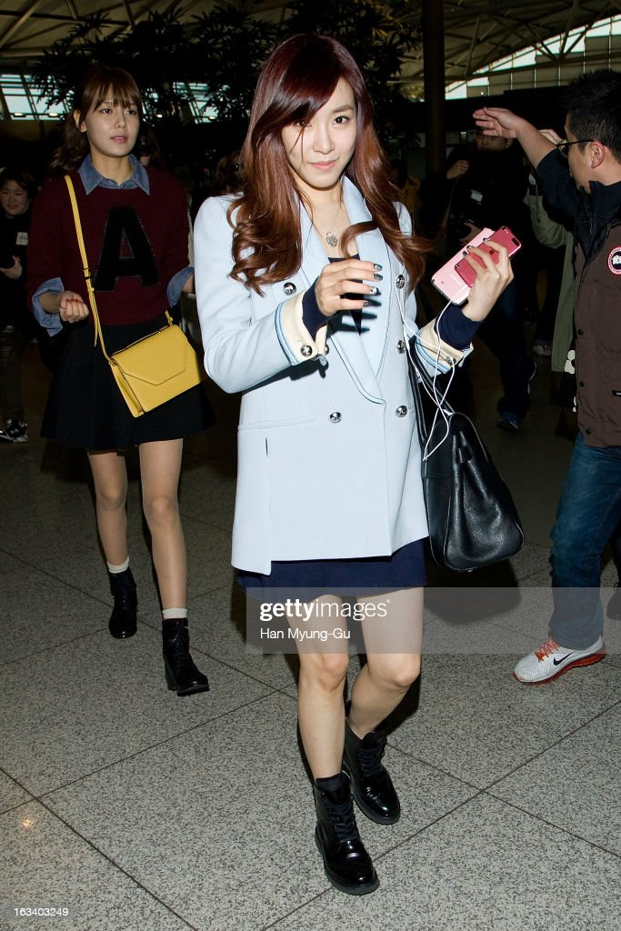 Tiffany of South Korean girl group Girls' Generation is seen on departure at Incheon International Airport on March 8, 2013 in Incheon, South Korea.