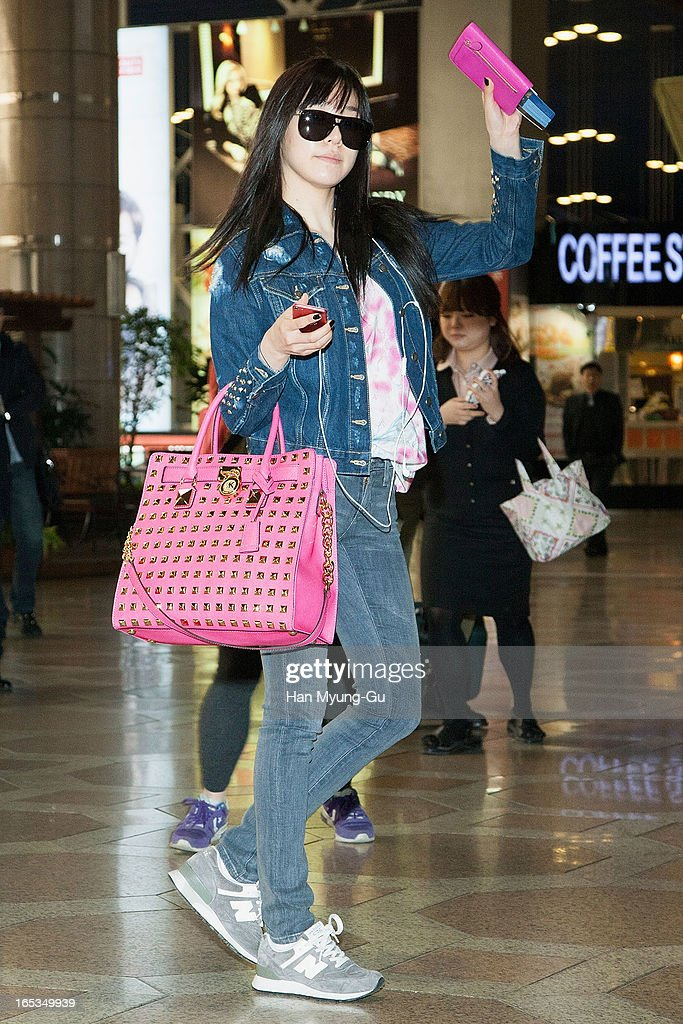 Tiffany of South Korean girl group Girls' Generation is seen on departure to Japan at Gimpo International Airport on April 3, 2013 in Seoul, South Korea.