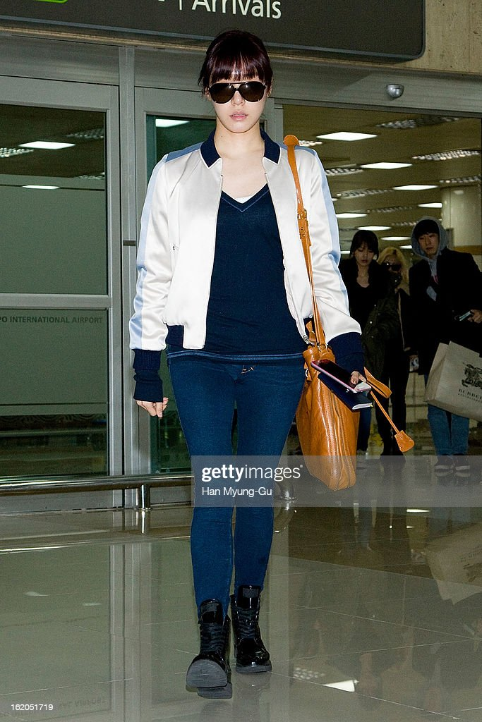 Tiffany of South Korean girl group Girls' Generation is seen upon arrival at Gimpo International Airport on February 18, 2013 in Seoul, South Korea.