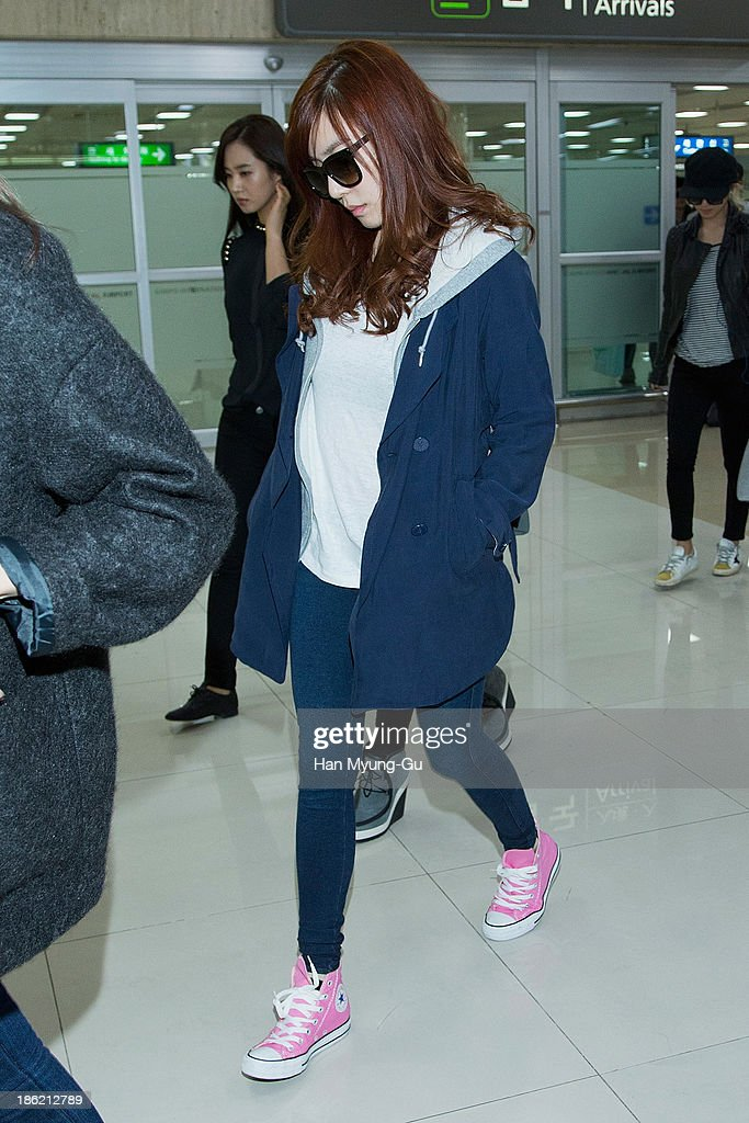 Tiffany of South Korean girl group Girls' Generation is seen upon arrival at the Gimpo Airport on October 28 2013 in Seoul South Korea
