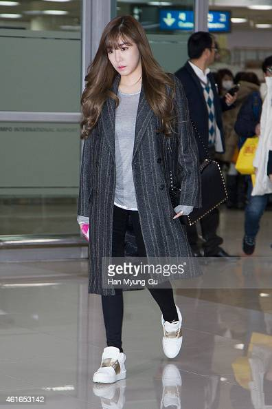 Tiffany of South Korean girl group Girls' Generation is seen upon arrival at Gimpo International Airport on January 16 2015 in Seoul South Korea