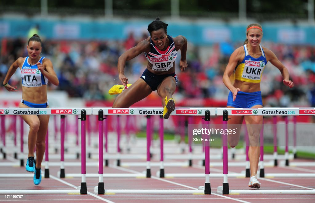Tiffany Porter (c) of Great Britain clears the last hurdle on her way to victory in the Womens 100 metres hurdles heats during day two of the European Athletics Team Championships at Gateshead International Stadium on June 23, 2013 in Gateshead, England.