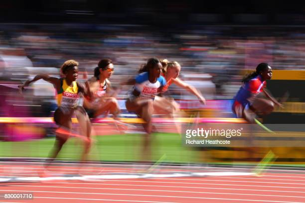 Tiffany Porter of Great Britain competes in the Women's 100 metres hurdles heats during day eight of the 16th IAAF World Athletics Championships...