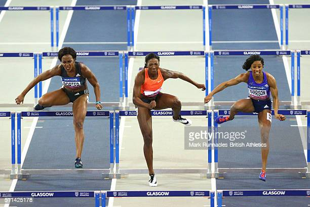 Tiffany Porter of Great Britain Nia Ali of USA and Kendra Harrison of USA compete in the Womans 60 Metres Hurdles during the Glasgow Indoor Grand...