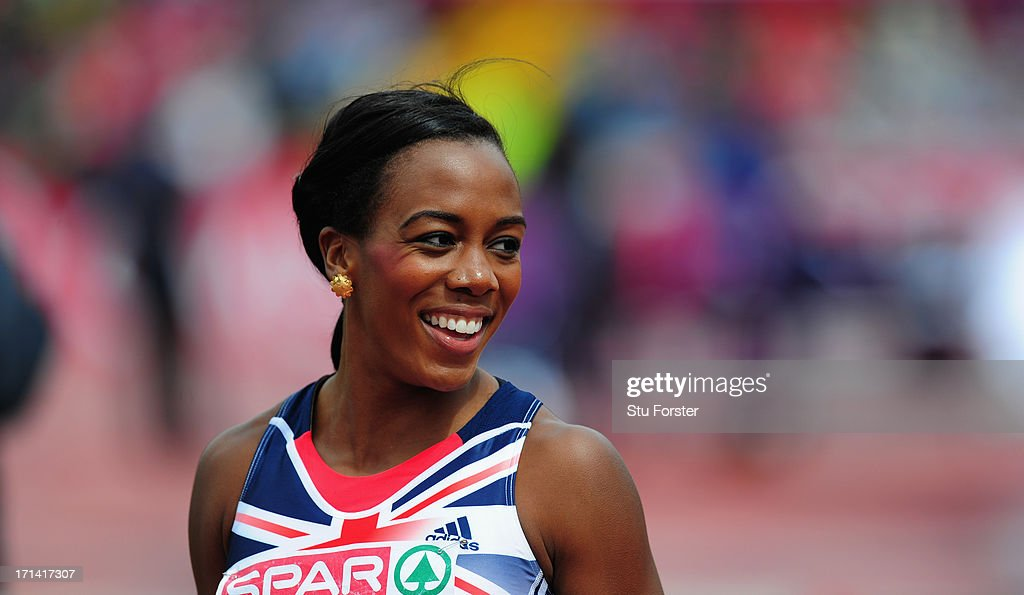 Tiffany Porter of Great Britain raises a smile after the Womens 100 metres hurdles heats during day two of the European Athletics Team Championships at Gateshead International Stadium on June 23, 2013 in Gateshead, England.
