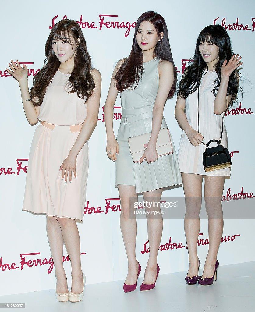 Tiffany, Seohyun and Taeyeon of South Korean girl group Girls' Generation attend the Salvatore Ferragamo 'L'Icona Ferragamo' Launch Photo Exhibition on April 3, 2014 in Seoul, South Korea.