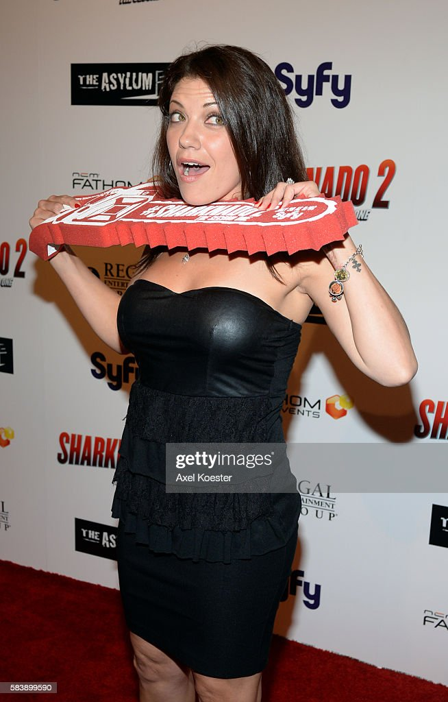 Tiffany Shepis arrives to the premiere of Sharknado 2 The Second One held at the Regal Cinemas at LA Live Thursday evening