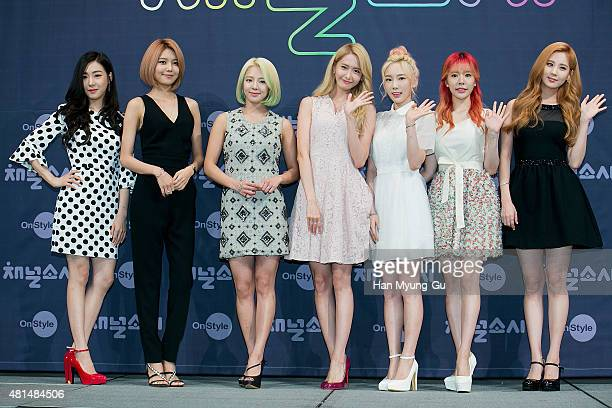 Tiffany Sooyoung Hyoyeon Yoona Taeyeon Sunny and Seohyun of South Korean girl group Girls' Generation attend the OnStyle 'Channel SNSD' Press...