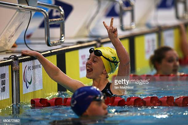 Tiffany Thomas Kane of Australia celebrates victory in the Women's 100M Breaststroke SB6 Final during Day Two of The IPC Swimming World Championships...