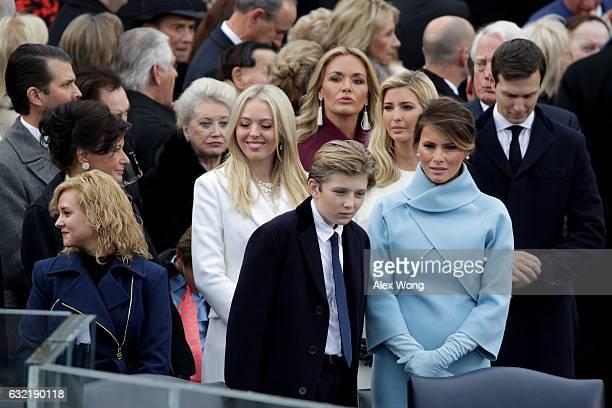 Tiffany Trump Barron Trump Vanessa Trump Ivanka Trump and Melania Trump stand on the West Front of the US Capitol on January 20 2017 in Washington DC...