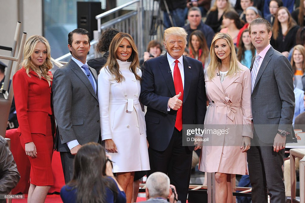 Tiffany Trump Eric Trump Melania Trump Donald Trump Ivanka Trump and Donald Trump Jr attend NBC's Today Trump Town Hall at Rockefeller Plaza on April...