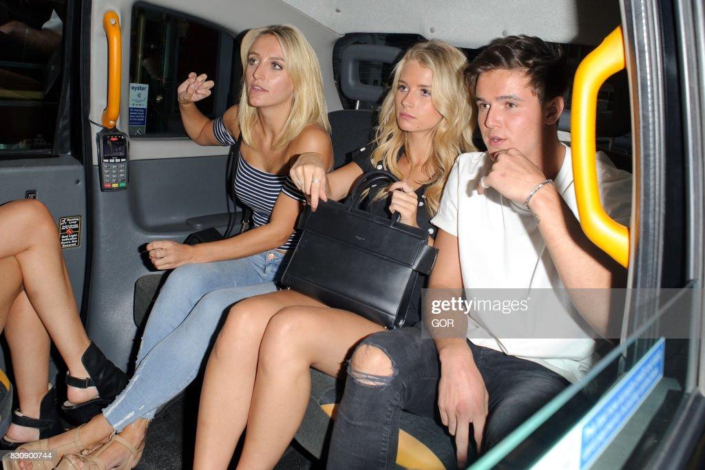 Tiffany Watson (L) Lottie Moss (M) Sam Prince (R) leaving the Bluebird cafe in Chelsea on August 12, 2017 in London, England.