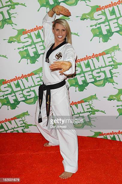 Tiffiny Hall poses on the media wall ahead of Nickelodeon Slimefest 2012 at Hordern Pavilion on September 15 2012 in Sydney Australia