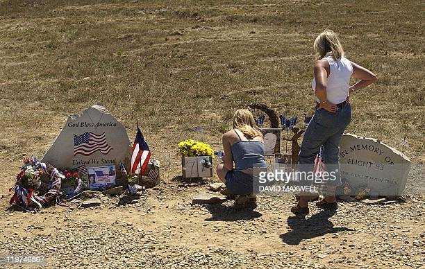 Tiffney Miller sister of United Flight 93 passenger Nicole Miller and their mother Cathy Stefani visit a memorial to Nicole 09 September 2002 at a...