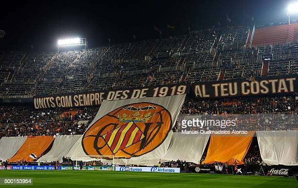 Tifo banner hangs in the stands prior to the La Liga match between Valencia CF and FC Barcelona at Estadi de Mestalla on December 05 2015 in Valencia...