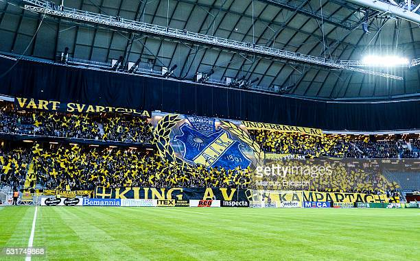 Tifo by supporter od AIK during the Allsvenskan match between AIK and Djurgarden IF at Friends arena on May 16 2016 in Solna Sweden