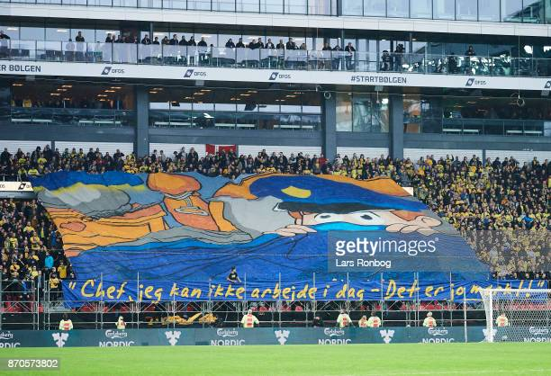 A tifo from the fans of Brondby IF commenting on the police work during the Danish Alka Superliga match between FC Copenhagen and Brondby IF at Telia...