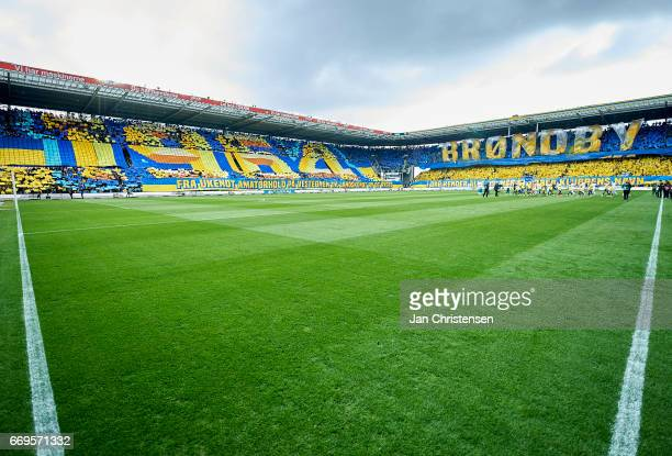 Tifo prior to the Danish Alka Superliga match between Brondby IF and FC Midtjylland at Brondby Stadion on April 17 2017 in Brondby Denmark