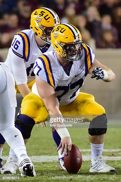 Tiger center Ethan Pocic calls out blocking assignments during the NCAA football game between the LSU Tigers and Texas AM Aggies on November 24 2016...