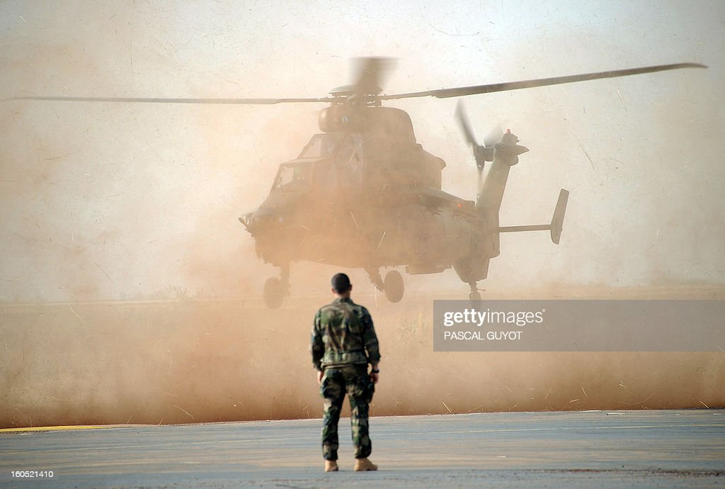 A Tiger helicopter lands at the Mopti airport, in Sevare, on February 2, 2013. President Francois Hollande visits Mali today as French-led troops work to secure the last Islamist stronghold in the north after a lightning offensive against the extremists.