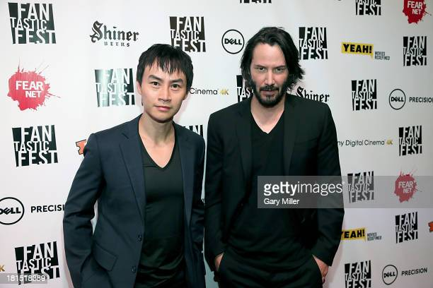Tiger Hu Chen and Keanu Reeves on the red carpet for the premiere of their new film 'Man of Tai Chi' during Fantastic Fest at the Alamo Drafthouse on...