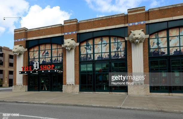 Tiger statues outside the Detroit Tigers team store 'The D Shop' at Comerica Park home of the Detroit Tigers baseball team in Detroit Michigan on...