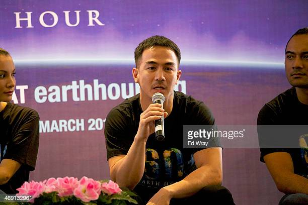 Tiger Warrior Joe Taslim speaks at a news conference announcing that Spiderman was named the new Super Hero Ambassador for Earth Hour on February 13...