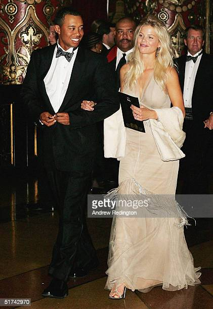 Tiger Woods and Elin Nordegren arrive at the 35th Ryder Cup Matches Gala Dinner at the Fox Theater on September 15 2004 in Detroit Michigan