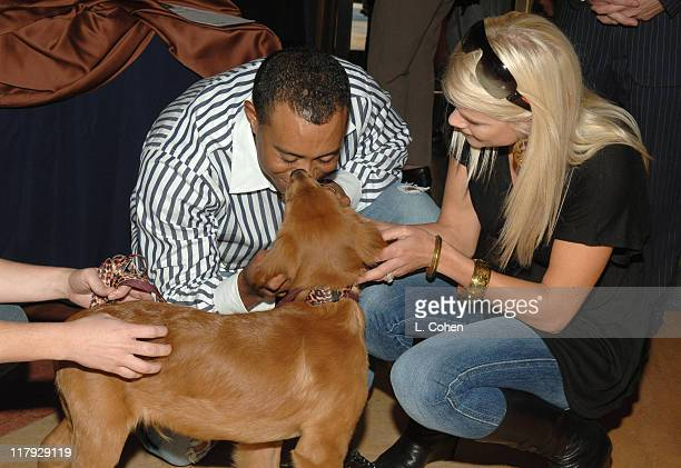Tiger Woods and Elin Nordegren during Tiger Woods Learning Center's 2006 Block Party at The Grove in Anaheim California United States