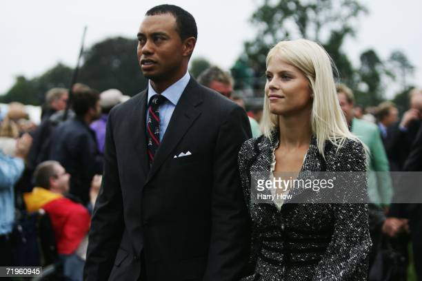 Tiger Woods and his wife Elin look on during the Opening Ceremony of the 2006 Ryder Cup at The K Club on September 21 2006 in Straffan Co Kildare...