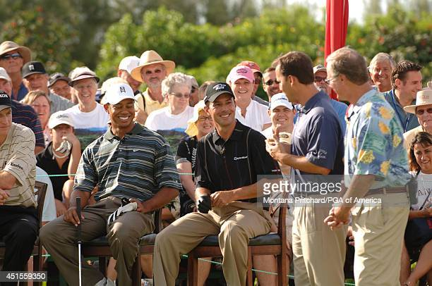 Tiger Woods and Mike Weir with the Big Break hosts at the Big Break/Champions Clinic during the PGA Grand Slam of Golf at Poipu Bay in Kauai Hawaii...