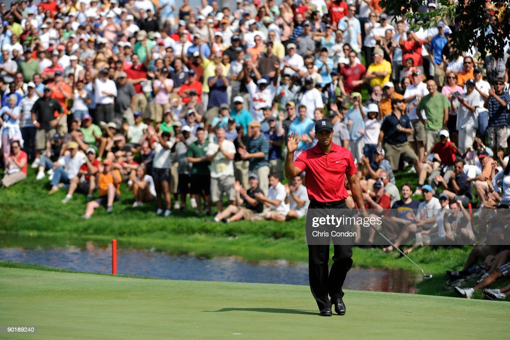 Tiger Woods birdies during the final round of The Barclays at Liberty National Golf Club on August 30 2009 in Jersey City New Jersey