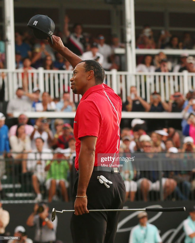 <a gi-track='captionPersonalityLinkClicked' href=/galleries/search?phrase=Tiger+Woods&family=editorial&specificpeople=157537 ng-click='$event.stopPropagation()'>Tiger Woods</a> celebrates after his two-stroke victory at the World Golf Championships-Cadillac Championship at the Trump Doral Golf Resort & Spa on March 10, 2013 in Doral, Florida.