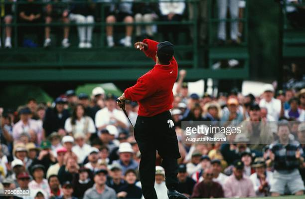 Tiger Woods Celebrates Victory During The 1997 Masters Tournament