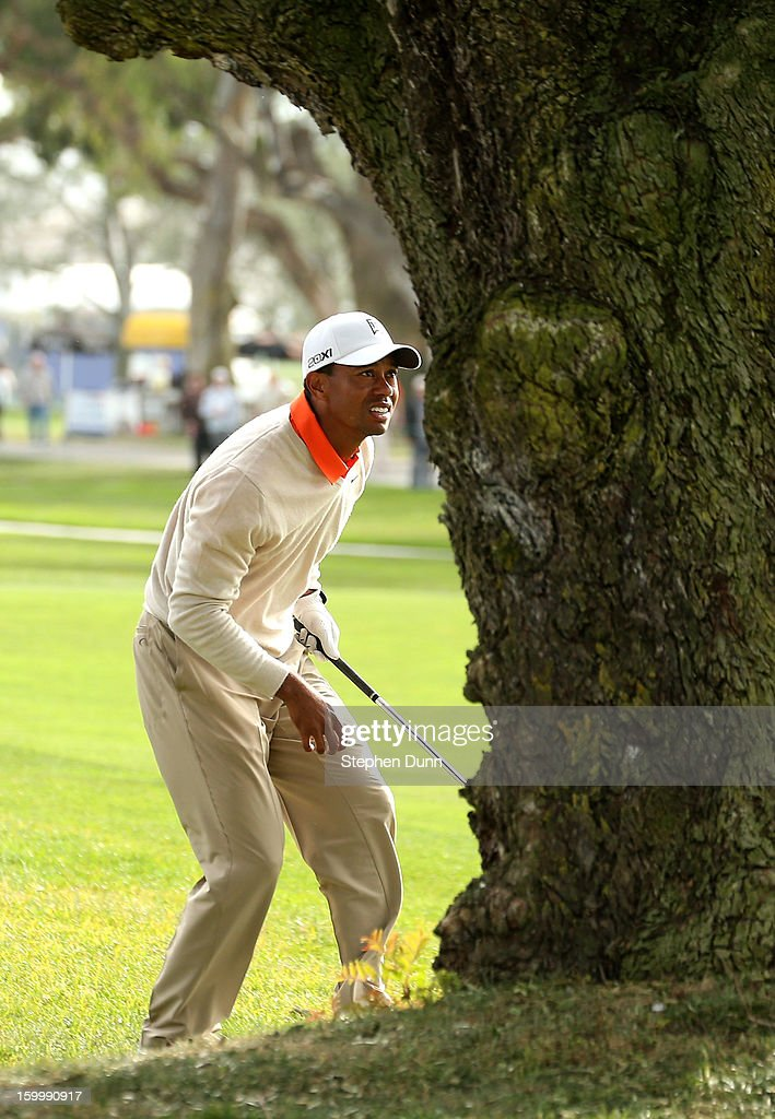 Tiger Woods checks follows his shot out of the rough and behind a tree on the 15th hole during the first round of the Farmers Insurance Open on the South Course at Torrey Pines Golf Course on January 24, 2013 in La Jolla, California.