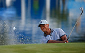 Tiger Woods chips out of the bunker on the 15th green during the third round of the Wyndham Championship at Sedgefield Country Club on August 22 2015...