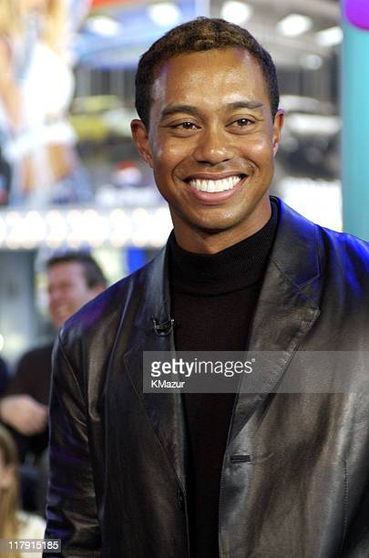 Tiger Woods during Tiger Woods Promotes 'EA Sports Tiger Woods PGA Tour 2002' Video Game on MTV's 'TRL' March 4 2002 at MTV Times Square Studios in...