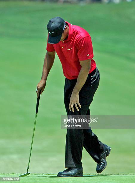 Tiger Woods grabs his left knee as he gets up after missing a birdie putt on the 7th hole in a sudden death the playoff during the US Open at Torrey...