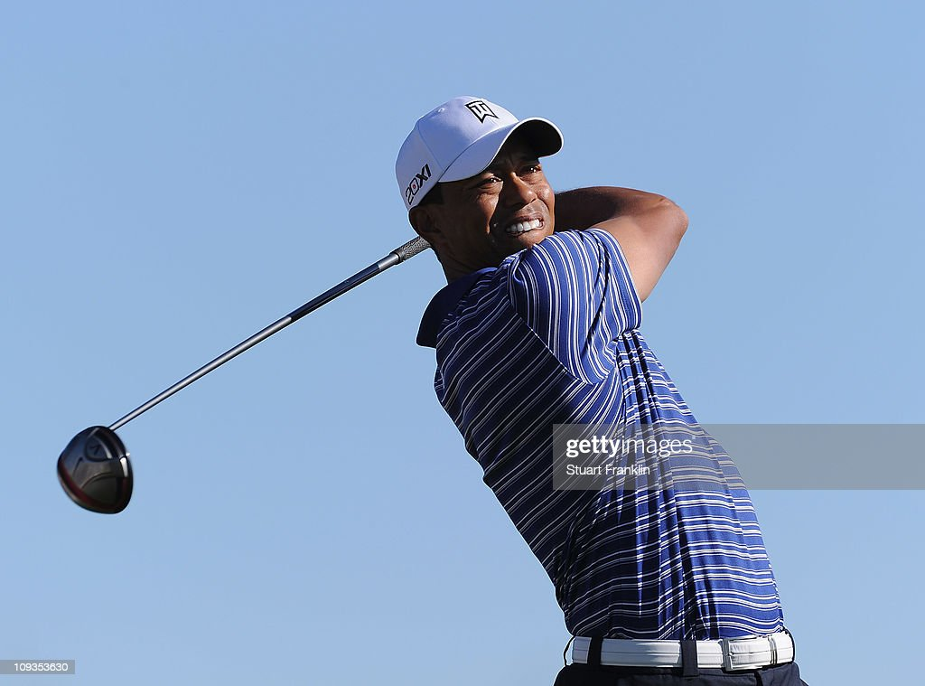 Tiger Woods hits a shot during practice prior to the start of the World Golf ChampionshipsAccenture Match Play Championship held at The RitzCarlton...