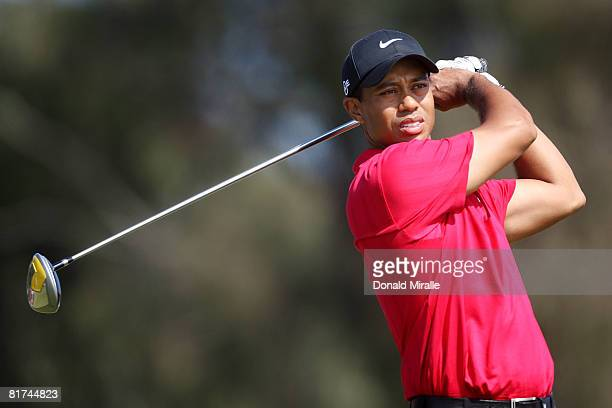 Tiger Woods hits a shot during the final round of the 108th US Open at the Torrey Pines Golf Course on June 15 2008 in San Diego California