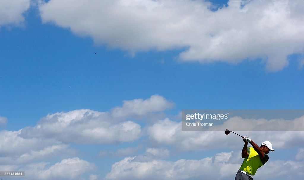 <a gi-track='captionPersonalityLinkClicked' href=/galleries/search?phrase=Tiger+Woods&family=editorial&specificpeople=157537 ng-click='$event.stopPropagation()'>Tiger Woods</a> hits a shot on the practice ground during the second round of the World Golf Championships-Cadillac Championship at Trump National Doral on March 7, 2014 in Doral, Florida.