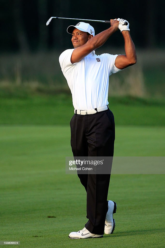 Tiger Woods hits a shot on the second hole during the second round of the Deutsche Bank Championship at TPC Boston on September 4 2010 in Norton...