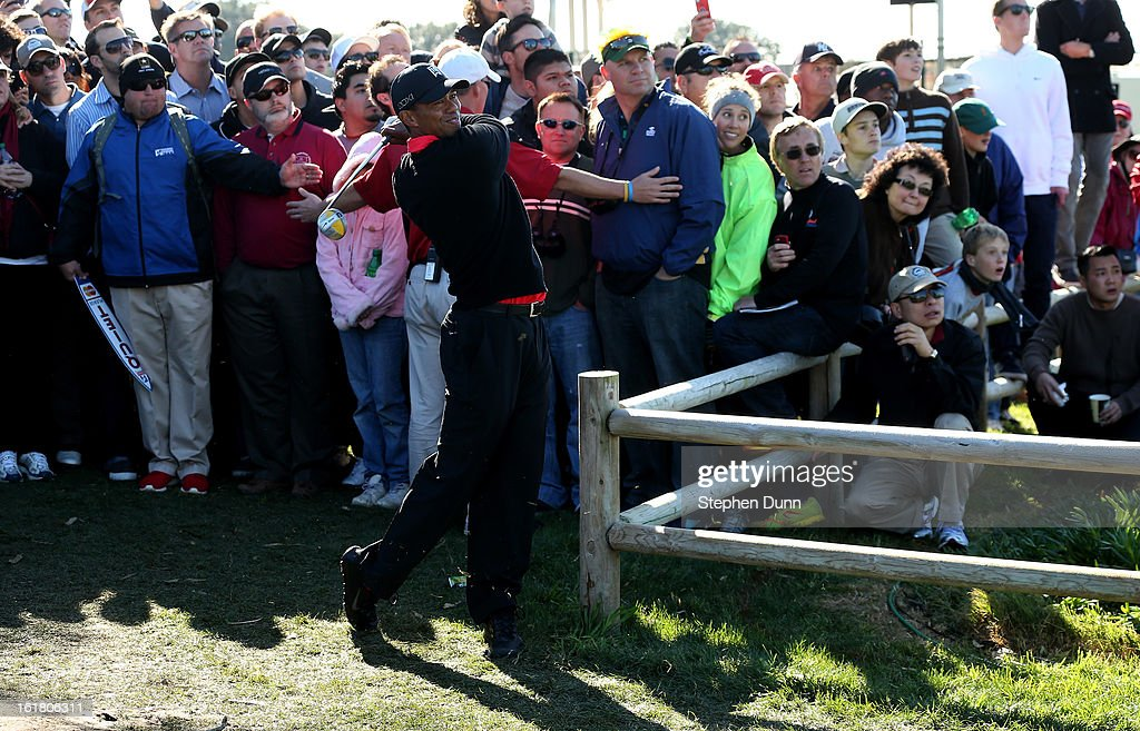 Tiger Woods hits from off the fairway on the 15th hole during the final round of the Farmers Insurance Open on the South Course at Torrey Pines Golf Course on January 28, 2013 in La Jolla, California.