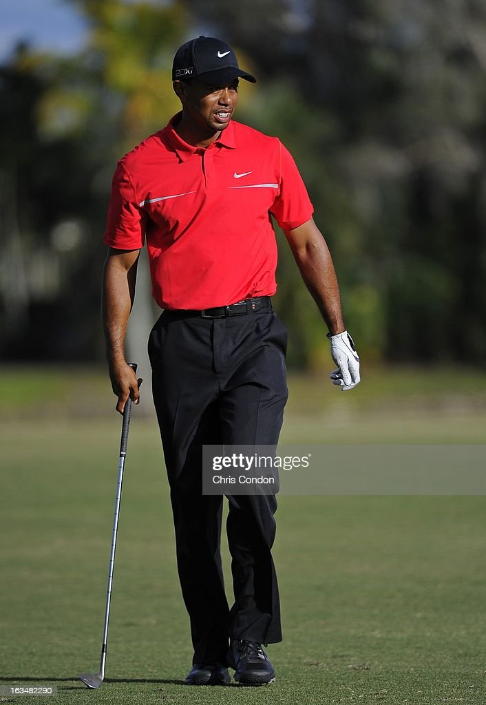 Tiger Woods hits from the 14th fairway during the final round of the World Golf Championships-Cadillac Championship at TPC Blue Monster at Doral on March 10, 2013 in Doral, Florida.