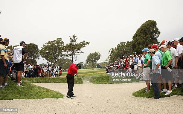 Tiger Woods hits his second shot on the 15th hole during the playoff round of the 108th US Open at the Torrey Pines Golf Course on June 16 2008 in...
