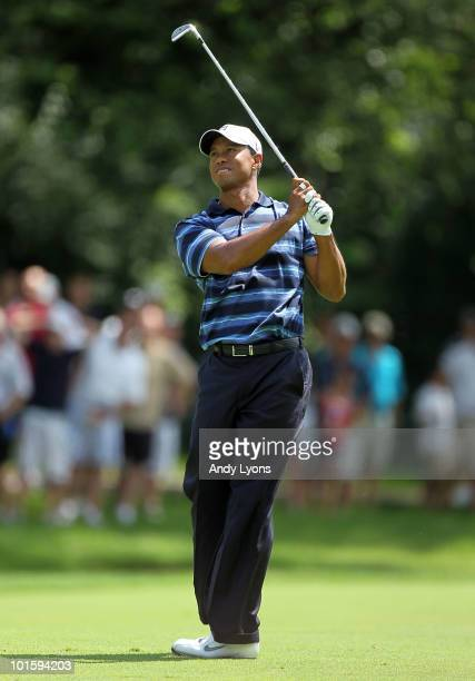 Tiger Woods hits his second shot on the second hole during the first round of The Memorial Tournament presented by Morgan Stanley at Muirfield...