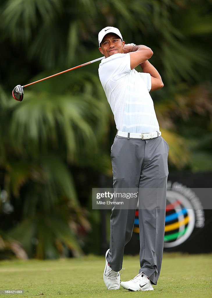 Tiger Woods hits his tee shot on the 12th hole during the third round of the World Golf Championships-Cadillac Championship at the Trump Doral Golf Resort & Spa on March 9, 2013 in Doral, Florida.