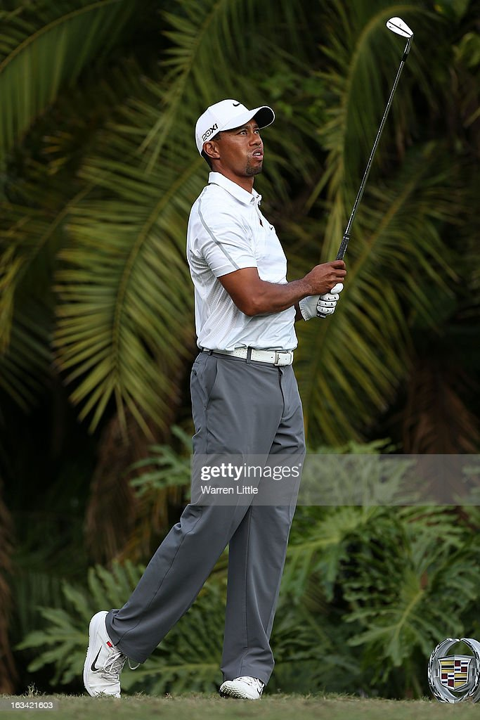 Tiger Woods hits his tee shot on the 15th hole during the third round of the World Golf Championships-Cadillac Championship at the Trump Doral Golf Resort & Spa on March 9, 2013 in Doral, Florida.