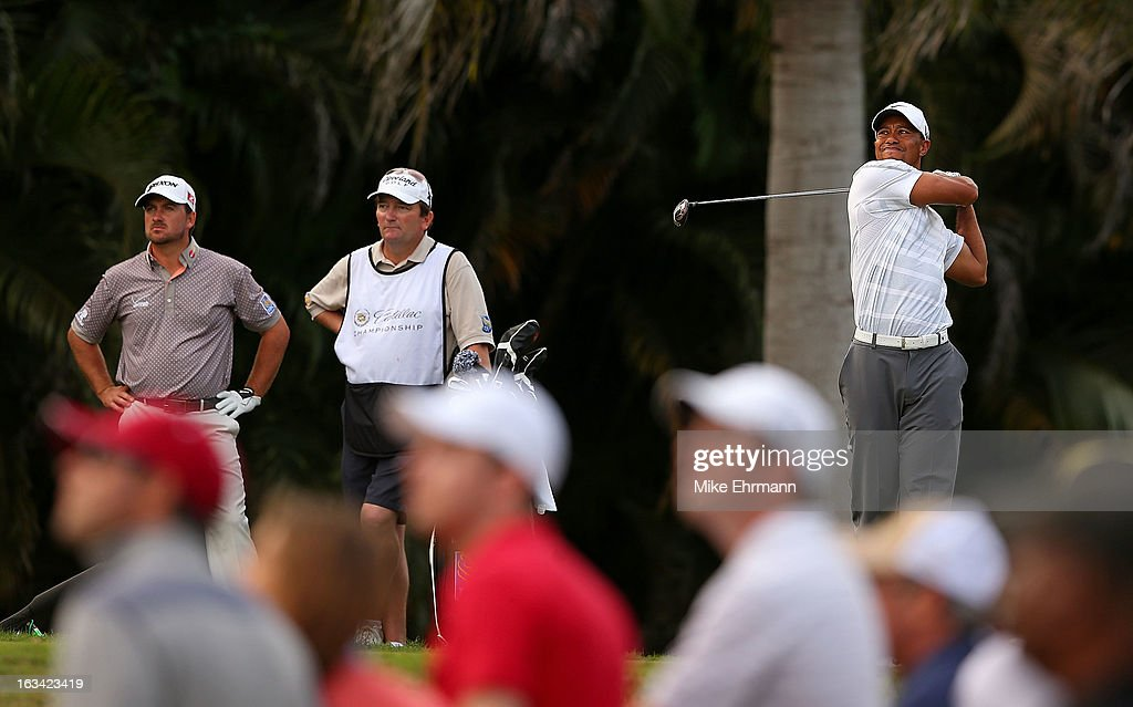 Tiger Woods hits his tee shot on the 16th hole during the third round of the WGC-Cadillac Championship at the Trump Doral Golf Resort & Spa in on March 9, 2013 in Doral, Florida.