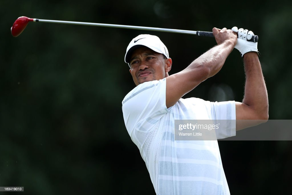 Tiger Woods hits his tee shot on the fifth hole during the third round of the World Golf Championships-Cadillac Championship at the Trump Doral Golf Resort & Spa on March 9, 2013 in Doral, Florida.